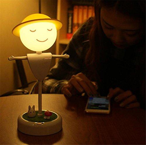 BIUODY Prenota la luce di notte LED USB di ricarica da letto in camera per bambini Bagno Timing LED Corridoio vibrazioni induzione spegnere le luci di notte della lampada