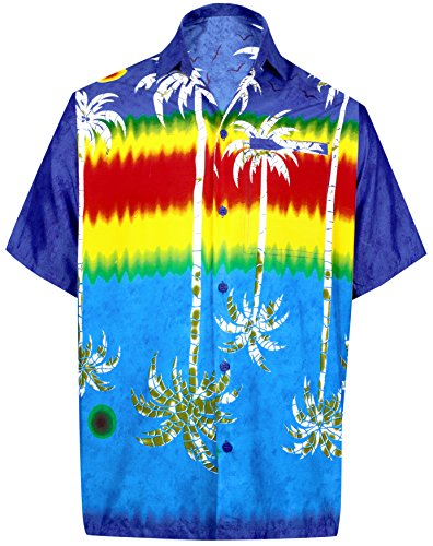 La Leela remely Glatt Tunika Tropischer Knopf Unten Kurze Ärmel Shirt Königsblau 271 4XL