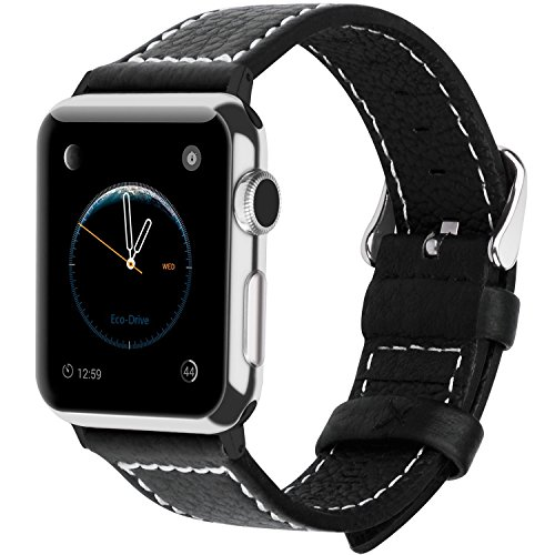 Marc Watch Bands, Fullmosa Jan Series Lichi Texture Calf Leather Strap Replacement Band with Stainless Metal Clasp for Apple Watch Series 1 Series 2, Black,38mm