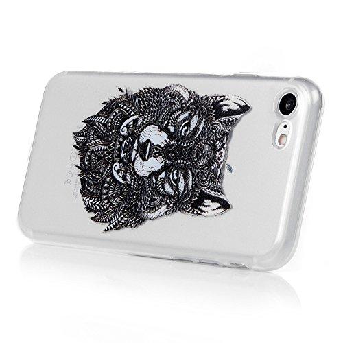 Badalink iphone 7 Case Cover Hülle Handycase TPU Case Helle Schale Painted Gemalt Durchsichtig Transparent Etui Cover Protective Shell Telefon Kasten Soft Schutzhülle,Black Wolf Black Wolf
