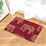 Morbuy Fußmatte 50x80cm/40x60cm Innenbereich und Aussenbereich Elefant Fussabstreifer Flur Teppich Wohnzimmer Rutschfest und Waschbar Praktische Fußabtreter (40 * 60CM, Rotgold Elefant)