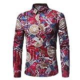 Chemise pour Homme, Malloom Blouse Libellule imprimée à Manches Longues (M, Rouge)