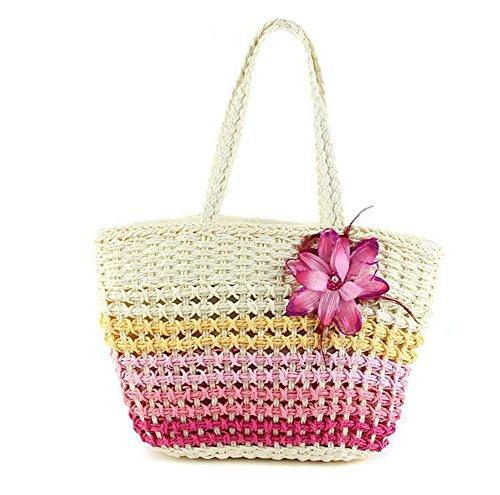 Tote di fiore della spalla del fiore della borsa di paglia della paglia tessuto tessuto di lavoro a maglia che spedice liberamente Estate Tote di spiaggia di estate , blue rose red