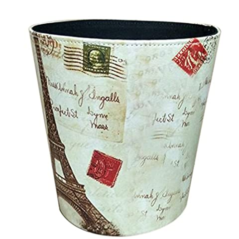 Waste Bin, iTECHOR European Style Classic Household Home Office Round PU Leather Trash Can Waste Bin Wastebasket Waste-paper Basket Ashcan Ashbin Garbage Can Trash Can without