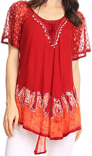 Sakkas 786 - Cora Bequemer Sitz Batik Design Gestickte Kappen-Hülsen-Bluse / Top-Rot-One Size (Gestickte Bluse Hülse)