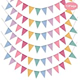Ulikey 72 Drapeaux de Triangle en Toile de Jute Multicolore, 6 x Guirlandes de Fanions Drapeau Bannières Banderole Vintage Decoration pour Anniversaire, Mariage, Fête (4,2M/Chaque Guirlande)