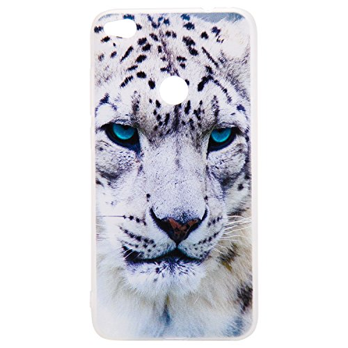 Huawei P8 Lite 2017 Hülle, Hozor 3D Muster Matte Handyhülle Ultra Slim Weich Silikon Backcover Kratzfest Bumper Case Schutzhülle Telefon-Kasten - Weiß Leopard (Justin Case Tastatur)