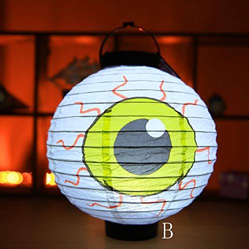 QinMM W Halloween Wohnkultur,LED Papierlaterne Kürbis Licht Papier Hängeleuchte Halloween Party Dekoration -
