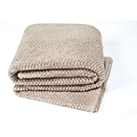 YourHome Throw soft & cosy teddy popcorn suitable for bed, chair or sofa (130x180, Natural)