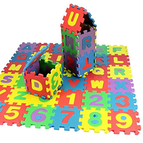 Kuerli Juego de 36 Piezas de Alfombrillas de Espuma para bebés,  alfanumérica,  educativas,  Regalo del juguet Puzzles 3D