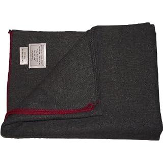 New Military Style Heavy Wool Blanket (Grey With Red Trim)(Size: 60inchx 80inch (152cm x 203cm))