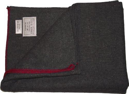 Manta estilo militar gruesa lana. Gris franja roja