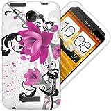 Etui de créateur pour HTC One X - Etui / Coque / Housse de protection blanc en TPU/gel/silicone avec motif fleurs violettes