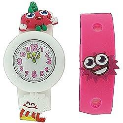 Moshi Monsters Kinderuhr weißes und rosa Tauscharmband mit Charms AMMLU