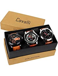Cavalli Analogue Multi-Colour Dial Men'S And Boy'S Watch-Combo Of 3 Exclusive Watches-CW343
