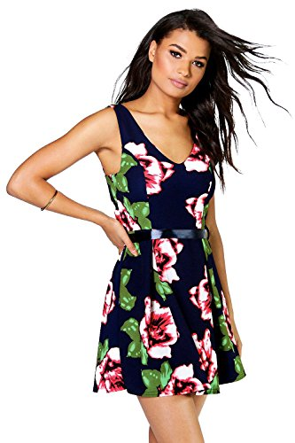 Marin Femmes Polly Floral Skater Robe With Ribbon Belt Marine