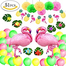 Yansion Decoración de fiesta en la playa hawaiana, Suministros de fiesta de verano tropical con seis hojas, Seis flores, Dos globos grandes de aluminio ...