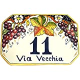 CERAMICHE D'ARTE PARRINI- künstlerische italienische Keramik , bürgerliche Sitte 23x15 Zahl , dekorative Trauben , von Hand bemalt , made in Italy Toscana
