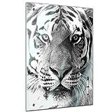Memoboard 60 x 80 cm, Tiere - Tigergeischt - schwarz weiß - Memotafel Pinnwand - Tiermotive - Tier - Tiger - Raubkatze - Raubtier - Wildtier - Natur - Küche - Esszimmer - Glasbild - Handmade