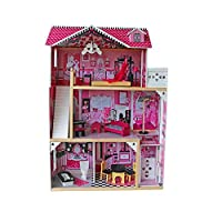 Yark Wooden Doll House With Lift , Barbi House Girl Birthday Gift Color Doll House To Keep Your Little Princese Or Can Be Bookshelf
