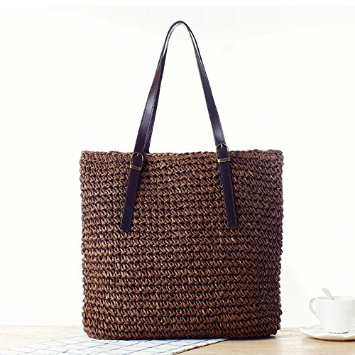 Otomoll Handgefertigten Gewebten Beutel Schultertasche Handtasche Einfache Farbe All-Match brown