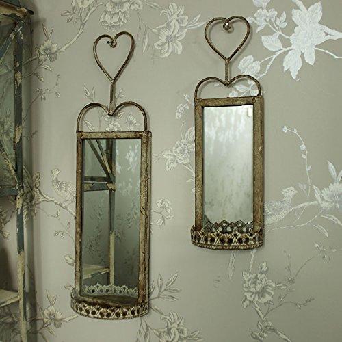 Juego de 2Vintage colgante de pared espejo con estante