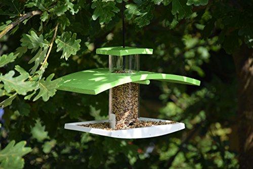 Luxus-Vogelhaus 33940e Vogelfutterspender mit Acryl glassilo und Kordel zum Aufhängen, hellgrün/weiß - 4