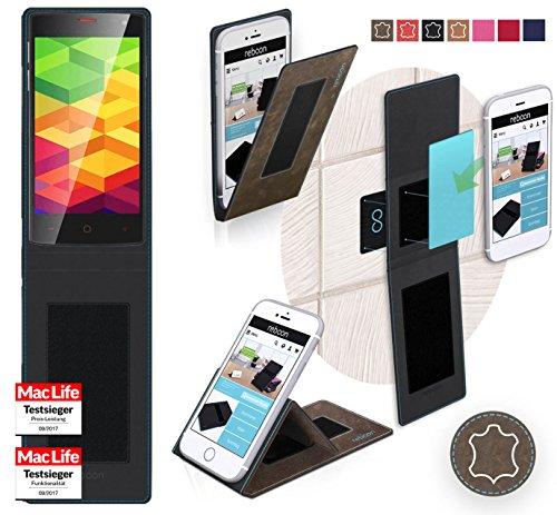 reboon Hülle für Ulefone BE X Tasche Cover Case Bumper | Braun Wildleder | Testsieger