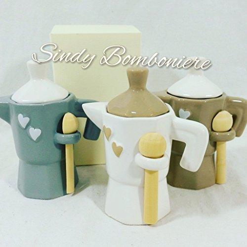 Idea bomboniera matrimonio caffettiera zuccheriera colori assortiti (Bomboniera non confezionata)