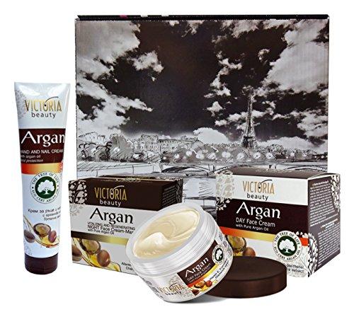 Set Victoria Beauty Argan ? Tagescreme, Nachtcreme Regenerativ und Creme für die Hände auf Arganöl Pure, Kamille und Vitamin E