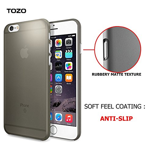 TOZO® for iPhone 6 6S Case, [0.35mm] Ultra-Thin [ Perfect Fit ] World's Thinnest Hard Protect Case Back Cover Bumper [ Semi-transparent ] Lightweight for iPhone 6S / 6 4.7 inch Matte Black Matte White