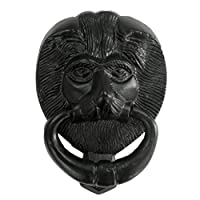 6 inch Black Iron Lions Head Front Door Knocker
