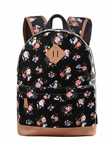 Douguyan Mädchen Canvas Rucksack Daypack Retro Schulrucksack Schultasche Junge Damen School Backpack Girls Travel Backpack Women Reiserucksack Freizeitrucksack mit Blumen Muster E00133b Schwarz -