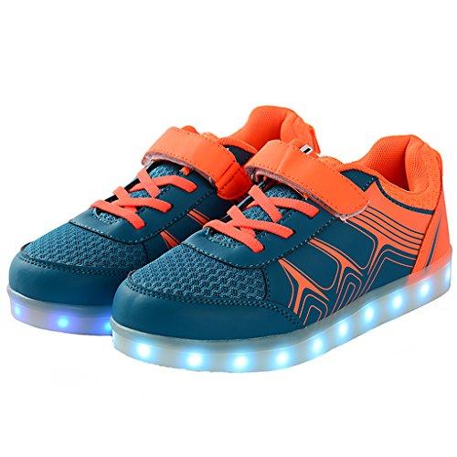LED Bevoker Laufschuhe Leuchtend Kinder Orange M盲dchen Schuhe Unisex Jungen Sneaker Sportschuhe f6q6Hxdw