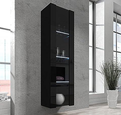 Design Ameublement – Vitrine armoire mural Capri Noir /