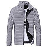 Herren Jacke Btruely Stand Collar Daunenjacke Herbst Winter Männer Slim Mantel Warm Zipper Outwear (XL, Grau)