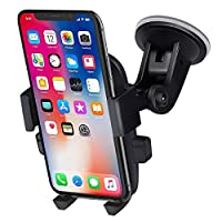 ANCOOLE A7 Car Phone Holder Car Mount 360 Degrees Rotation Freely Adjustable Suction on Windshield for iphone 11/Xs Max/XS/XR/8 Plus Samsung Galaxy S10/S9 Plus and More Universal Phone (Black)
