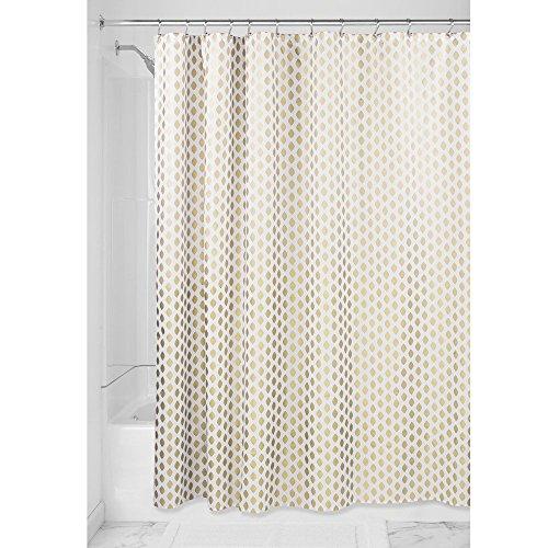 InterDesign Diamond Duschvorhang Textil pflegeleicht | dekorativer Duschvorhang aus Stoff mit verstärkten Löchern | Badewannenvorhang im Gold-Design | Polyester gold (Stoff-futter Gold)