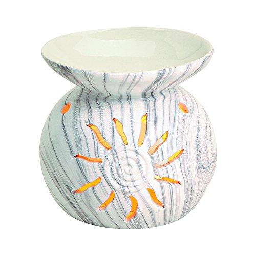 """Edle Keramik Duftlampe Aromalampe mit Marmor Struktur und Effekt Beleuchtung """" Sonne """" in weiß"""