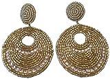Kenneth Jay Lane Gold Tone Seed Bead Gypsy Beaded Drop Pierced Earrings