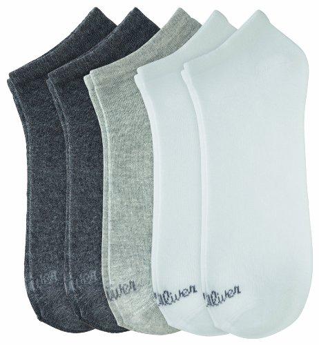 s.Oliver Sneaker Socken im 10er-Pack, weiß - grau, Gr. 35-38 (Logo Baumwolle Drucken)