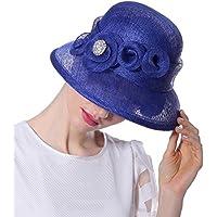 Yiwuhu Sombrero de Lino de Verano sombreado Sombrero de Banquete de Color Puro Lady Holiday Sun Hat. Simple