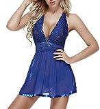 Charmnight Women Babydoll Sexy Lingerie Lace Sleepwear Nightwear Set (Blue-XXL)