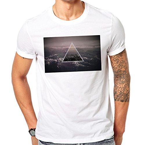 Illuminati Triangle Art Majestic City Over Night Herren T-Shirt Weiß