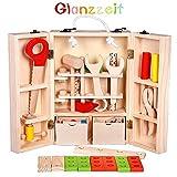 Glanzzeit Kleinkind Spielzeug Rollenspiel Baukasten Holzspielzeug Werkzeugkasten 39-teilig