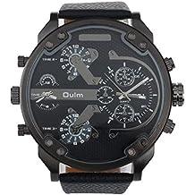 Malloom® hombres lujo militar ejército dual tiempo cuarzo dial grande reloj de pulsera negro