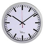 Hama Funk Wanduhr Bahnhof (automatische Zeiteinstellung, 30 cm Durchmesser) silber