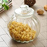 HOMIES INTERNATIONAL, 1 Piece, Best quality transparent clear Pumpkin decorative pickle canning food Storage glass Mason sealed airtight jars container with glass lid, Candy Storage Jar cereal toffee cookie snack jar for Home Kitchen and commercial Use (Size: 2 litre, Height: 21cm* diameter: 17cm)