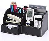 Westeng - Organizzatore per oggetti, multifunzione, in pelle di PU, per ufficio, da scrivania, porta penne e cancelleria immagine