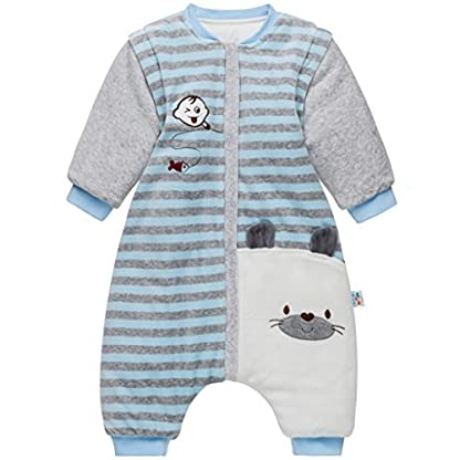 Bebé Saco de Dormir con Piernas Separable Algodón 3.5 Tog Invierno Bolsa de Dormir Mangas Larga Extraíbles para Niños Niñas 9-36 Meses